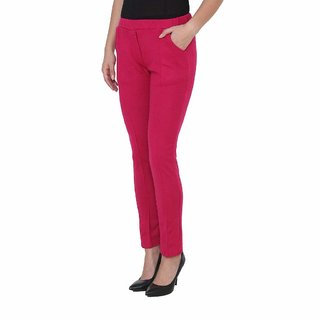 Womens Warm Woolen Full Length Palazo Pants or trousers with pocket  for WintersPink