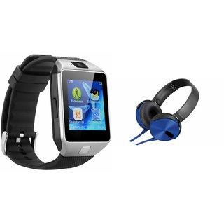 CUBA DZ09 Smart Watch & Extra Extra Bass Headphones for HTC DESIRE 210 DUAL SIM