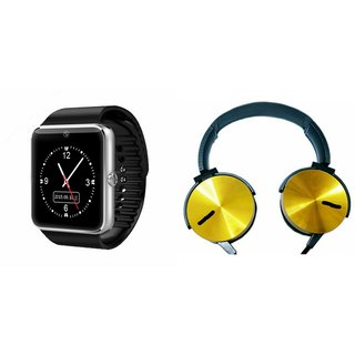 QWERTY GT08 Smart Watch & Extra Extra Bass Headphones for SONY xperia E4 dual