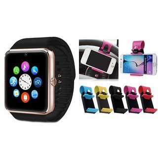 ZEMINI GT08 Smart Watch And Sterring Holder for SAMSUNG GALAXY A7