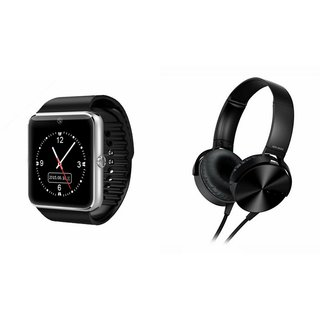 MIRZA GT08 Smart Watch & Extra Extra Bass Headphones for MICROMAX CANVAS A 82