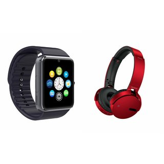 ZEMINI GT08 Smart Watch And Headphone (Extra Bass XB650 Headphone) for HTC ONE PRIME CAMERA EDITION