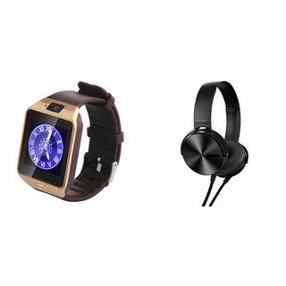 CUBA DZ09 Smart Watch & Extra Extra Bass Headphones for SAMSUNG GALAXY E 5
