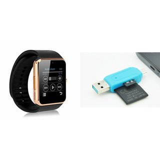 MIRZA GT08 Smart Watch And Card Reader for MICROMAX CANVAS FIRE 4G+