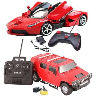 Rechargeable Remote Control Car Opening Door with Red hummer style model car