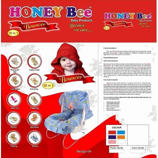 SHRIBOSSJI Honey Bee 10 in 1 Printed Baby Bouncer Carry Cot Baby Chair Bath tub swing and with many other feature