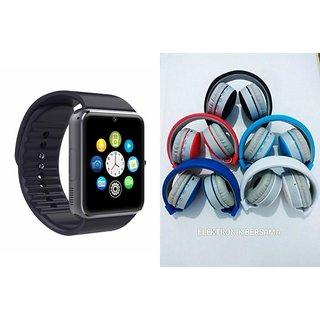 MIRZA GT08 Smart Watch And Bluetooth Headphone (J.B.L_881C Headphone) for SONY xperia j
