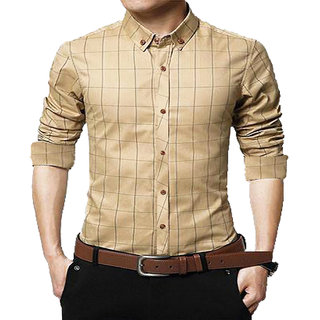 Gladiator Products Trendy Check Biege Regular Fit Shirt