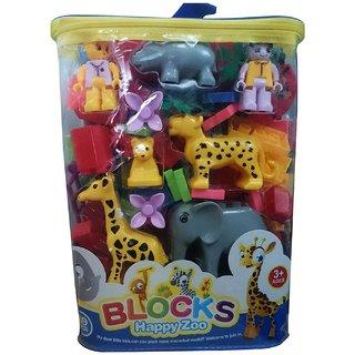Shribossji  Unisex Happy Zoo Animal Blocks Game Toys