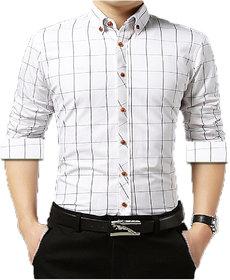 Gladiator Men's White Checks Cotton Regular Fit Shirt