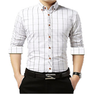 Gladiator Men's White Checks Cotton Regular Fit Shirt