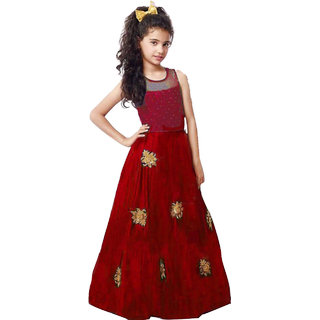 White world Girl's Red Silk Benglori Gown