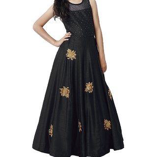 White world Girl's Black Silk Benglori Gown