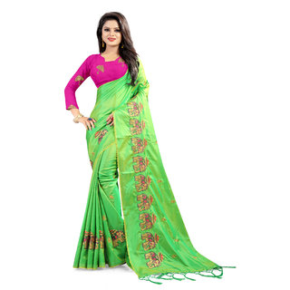 6fae484ebdc47 Dwarkesh Fashion Women s designer parrot color paper silk elephant embroidered  saree with blouse piece (df-12parrot)