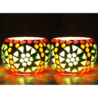 Luxantra Hand made Glass T-light Candle Holder set of 2 with 4 Tlight Candle free for Birthday Diwali Hotel spa (7x7cm)