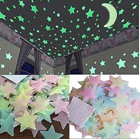 E Trading Inc. Plastic 3D Fluorescent Glow in The Dark Star Wall Sticker No of Pieces 50