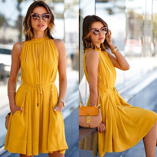Fabrange Mustard Crepe Plain Balloon Ruffled Dress For Women