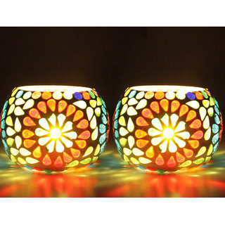 PeepalComm Hand made Glass T-light Candle Holder set of 2 with 4 Tlight Candle free for Birthday Diwali Hotel spa(7x7cm)