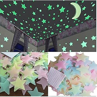 E Trading Inc. Plastic 3D Fluorescent Glow in The Dark Star Wall Sticker No of Pieces 50