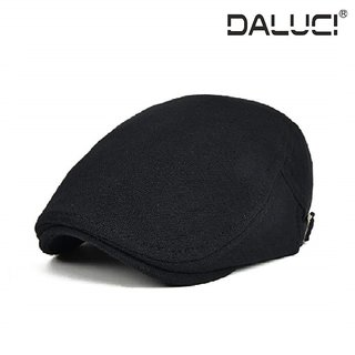 68c870f78 DALUCI Cotton Adjustable Men Women Black Flat Ivy Cap Soft Solid Color  Driving Cabbie Hat