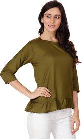AdiRattan Hot Selling Latest Frill Frock Design Rayon Fabric TOP - Mehandi Green