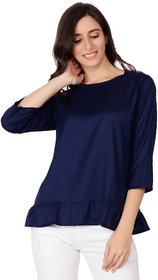 AdiRattan Hot Selling Latest Frill Frock Design Rayon Fabric TOP - Navy Blue