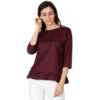 AdiRattan Hot Selling Latest Frill Frock Design Rayon Fabric TOP - Wine Color
