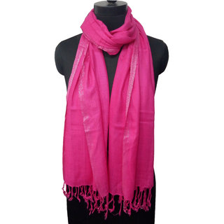 Viscose Yarn Dyed Fushia Color Stole for Women  Grls