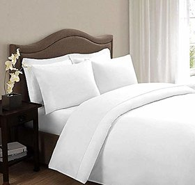 HomeStore-YEP White Plain 100 Cotton Double Bed Sheet with 2 Pillow Covers