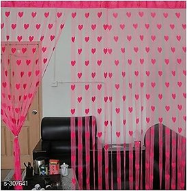 HomeStore-YEP 2 Piece Heart Door Curtains (Pink)