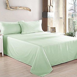 HomeStore-YEP Green Plain 100 Cotton Double Bed Sheet with 2 Pillow Covers