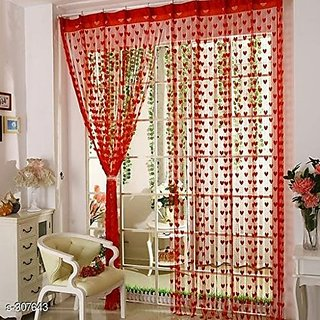 HomeStore-YEP 2 Piece Heart Door Curtains (Red)
