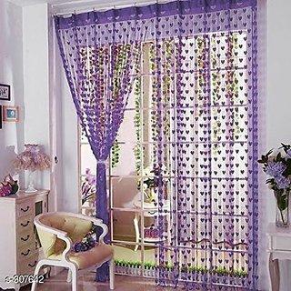 HomeStore-YEP 2 Piece Heart Door Curtains (Purple)