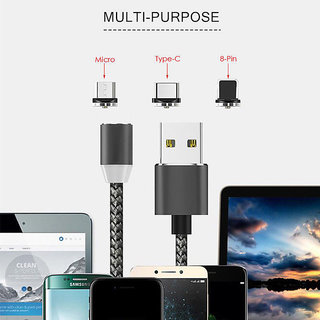 Tech Gear Universal Premium 360 3 in 1 Magnetic Cable V8 Micro USB / Lightning / Type C Connector Magnetic Data Cable