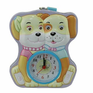 ZEVORA Purple Two Puppies Coin Bank with Lock  Table Analog Alarm Clock