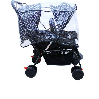 Soft Comfortable Shockproof Twin Stroller Pram with Rain Cover