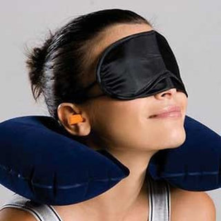 Shopimoz Neck Pillow with Eye Mask and Ear Buds Easy Travel Combo Kit