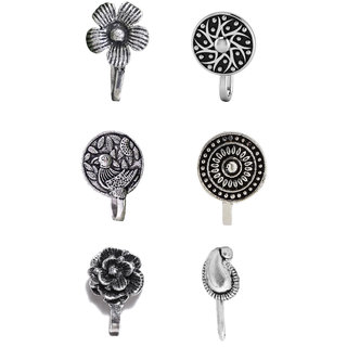 Cemaya Oxidised Silver Clip On Nose Pins For Women( Pack Of 6)