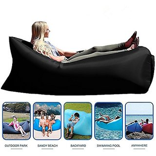 Style Homez Inflatable Air Bed Lounger cum Sleeping Bag, XL Camping and Beach Hangout Sofa, Black Color