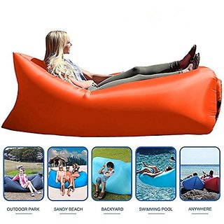 Style Homez Inflatable Air Bed Lounger cum Sleeping Bag, XL Camping and Beach Hangout Sofa, Orange Color