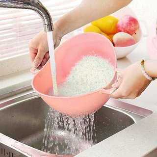 ZEVORA High Quality Pink Washing Strainer/Drainer/ Colander for Rice, Pulses, Fruits, Vegetables Pasta ,Noodles