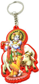 Faynci Gopal Krishna with flute Decorative Key Chain Red Shade For Gifting