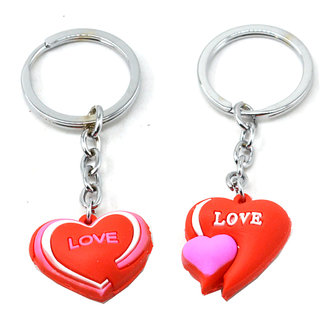 Faynci Love Couple with twin Heart Key Chain Gifting for Valentine Day