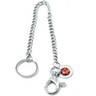 Faynci Silver Long Chain Clasp Football Keyring Metal Waist Belt Keychain