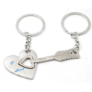 Faynci Universal Love Key Heart and Arrow Couple Key Chain for lover Gifting for Valentine Day/Birthday/Friendship Day