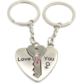 Faynci Love Heart Universal Key with diamond Couple Heart Key Chain for Gifting Valentine Day/Birthday/Friendship Day