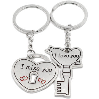 Faynci Miss You Heart Lock with Love You Universal Love Key Couple Key Chain for Gifting Valentine Day/Birthday/Friendship Day