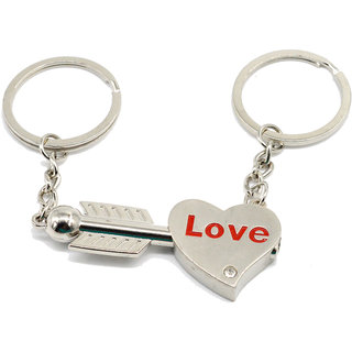 Faynci Love Heart with Love You Arrow and Rhinestone Unique Key Couple Key Chain for Gifting Valentine Day/Birthday/Friendship Day