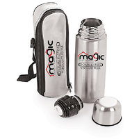 Magic Lifestyle Double Wall Vacuum Insulated Stainless Steel Bullet Flask, BPA Free Thermos Travel Water Bottle Sipper 750 ml, Silver Color