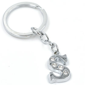 Faynci Alphabet S Metal Key Chain For Unisex with attractive Diamond